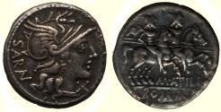 Ancient Coins - Roman Republic, M. Atilius Saranus Circa 145 BC, AR denarius (19 mm, 3.62 g, 5h), Rome Mint VF