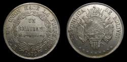 World Coins - Bolivia 1872 Boliviano Potosi Mint PTS FE .900 Silver .7234 OZ ASW KM# 155.4 BU Extensive Die Breaks