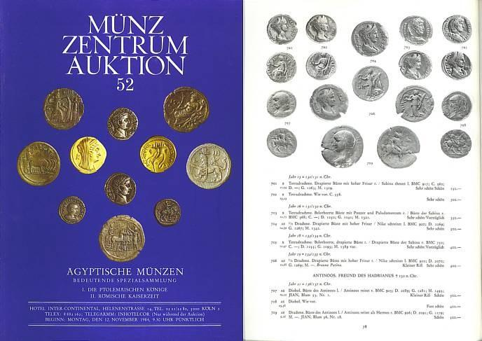 Ancient Coins - MÜNZ ZENTRUM KÖLN - Auctions 52 - November 12, 1984 - Ägyptische Münzen - Choice Collection of Coins from Egypt and Roman Alexandria PRL Very Rare and Very Desirable Catalogue