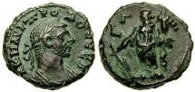 Ancient Coins - Egypt, Alexandria, Probus A.D. 276-282, Potin tetradrachm (19 mm, 7.08 gm., 12h), Year 3 (A.D. 277/278) EF Tyche Choice Patina