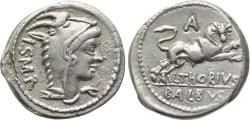Ancient Coins - L. THORIUS BALBUS, 105 BC, AR Denarius (20 mm, 3.80 g, 9h), Rome Mint, Good VF Bull