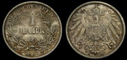 World Coins - Germany 1903-D Mark .900 Silver 1606 oz KM#14 UNC