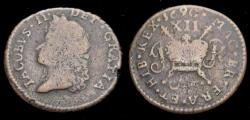 World Coins - Ireland 1690 James II Gunmoney Small Size Shilling Dublin or Limerick Mint June 1690 S-6582 Rare Fine+ 6310