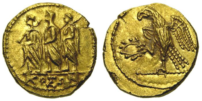 Ancient Coins - SCYTHIA, Geto-Dacians, Koson. Mid 1st century B.C. AV Stater (18 mm, 8.59 gm., 12h) Choice EF