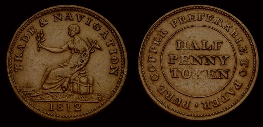 Ancient Coins - Canada, Pre-Confederation Tokens, Tokens of Nova Scotia,1812 Half Penny Token AU