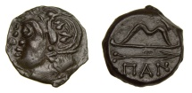 Ancient Coins - Cimmerian Bosporos Pantikapaion Circa 304-250BC AE Unit (4.98g, 19mm, 6h) Head of Satyr/Bow and Arrow SNG BM 894 Extremely Fine