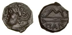 Ancient Coins - Cimmerian Bosporos Pantikapaion Circa 304-250BC AE Unit (4.98g, 19mm, 6h) Head of Satyr/Bow and Arrow SNG BM 894 Extremely Fine