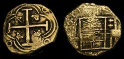 World Coins - Spanish Colonial Colombia Santa Fe De Neuvo Reino (Bogota) Mint Gold Cob 2 Escudos (6.64 g) Philip IV 1621-65 Full Cross VF