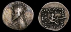 Ancient Coins - KINGS of PARTHIA, Phraates III, Circa 70/69-58/7 B.C. AR Drachm (20mm, 3.96 g, 12h) Court at Rhagai mint, Struck circa 62/1-58/7 B.C. VF