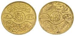 Saudi Arabia, Hejaz, Husain ibn Ali, Gold Dinar (22 mm, 7.27 gm), Hashimi AH 1334 Year 8 1922, Mecca mint, KM31, One-year type EF