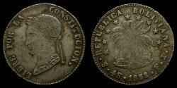 World Coins - Bolivia, Republic, AR 4 soles (32 mm, 13.76 g) 1858-PTS FJ Potosi Mint EF
