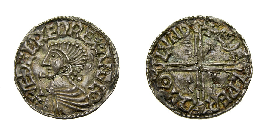 World Coins - Anglo-Saxon, Kings of All England, Aethelred II, 978-1016, AR Penny (19 mm, 1.27 gm), Long cross type, London mint, Aethelwerd, moneyer Good VF