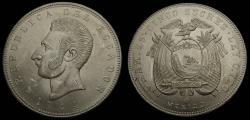 World Coins - 1944 Ecuador 5 Sucres .720 Silver .5787 Oz. ASW KM# 79 BU