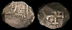 World Coins - 1763 Bolivia Potosi 8 Reales Silver Cob Full Date on Both Sides, Full Cross, Full Pillars KM#45 Good VF+