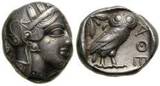 Ancient Coins - ATTICA, Athens, Circa 454-404 B.C. AR Tetradrachm (23 mm, 17.16 g, 3h) Toned EF Athena Owl