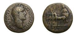 Ancient Coins - ANTONINUS PIUS (A.D. 138-161) Æ SESTERIUS (31 MM, 20.97 GM, 12 H) STRUCK AD 145-147 AT ROME MINT F+ RARE Quadriga
