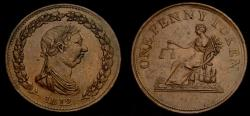 World Coins - Canada, Pre-Confederation Tokens, Lower Canada, 1812 One Penny Token Mint State