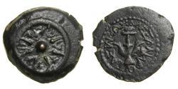Ancient Coins - JUDAEA, Hasmoneans, Alexander Jannaios (Yehonatan). 103-76 BCE. Æ Prutah (17mm, 3.82 g) Jerusalem mint EF