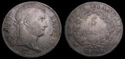 Ancient Coins - France 1809W Napoleon Bonaparte 5 Francs Lille Mint .900 .7234 KM#694.16 Good VF+ 6358