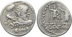 Ancient Coins - P. Cornelius Lentulus Marcellinus, 100 BC. AR Denarius (18 mm, 3.94 g, 11h) Rome mint VF Hercules