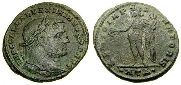 Ancient Coins - Galerius, A.D. 305-311, Æ Follis (26 mm, 5.91 gm., 6h), Heraclea mint, 1st officina, Struck circa A.D. 308-309 Good VF