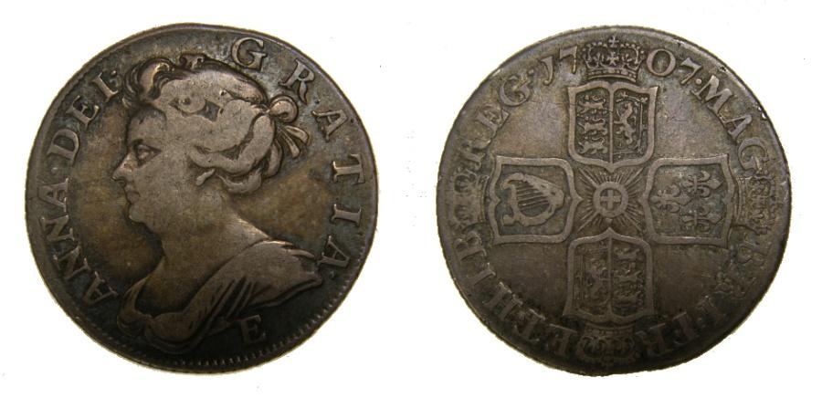Jnj My Store >> Great Britain 1707-E Queen Anne Shilling Edinburgh Mint, Scarce, Good Fine