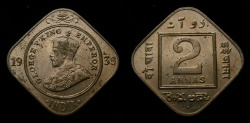 World Coins - 1936 British India 2 Annas Bombay Mint KM#516 UNC