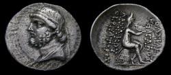 Ancient Coins - KINGS of PARTHIA, Phraates II, 132-126 B.C. AR Drachm (20 mm, 4.11 gm., 12h), Ekbatana mint, Struck circa 128-127 B.C. Good VF Choice Portrait in Greek Style