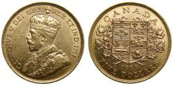 Ancient Coins - CANADA, King George V, $5 5 Dollars  1913, (8.36g), Ottawa Mint AU-58 or Better