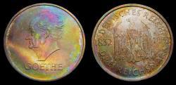 Ancient Coins - Germany 1932D Weimar Republic 3 Mark Goethe Choice Rainbow Toning KM76 UNC