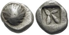 Ancient Coins - KORKYRA, Korkyra, Circa 510-480 B.C. AR Obol (8 mm, 0.93 g) aVF Ex Nomos Rare