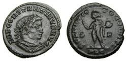Ancient Coins - Constantine I, A.D. 307-337, Æ Follis (24 mm, 4.43 gm., 6h). Lugdunum (Lyon) mint. Struck AD 315 A.D. EF Unusual Portrait