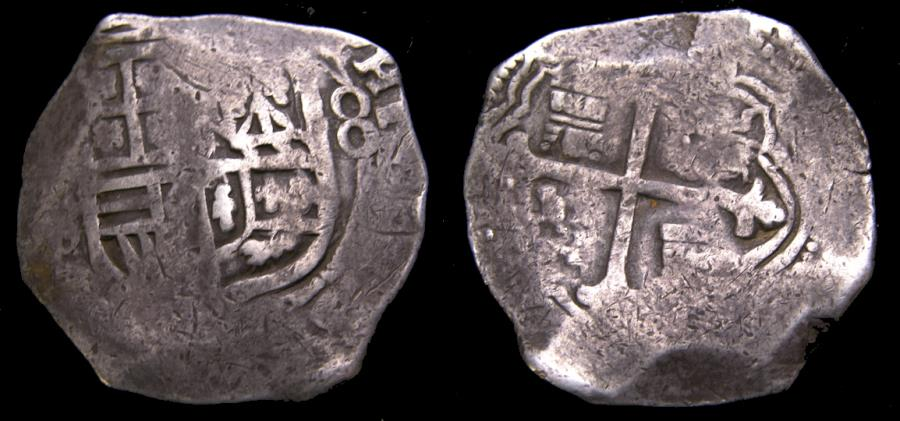 Spanish Colonial Mexico City Philip III 1598 1621 Silver Cob 8 Reales