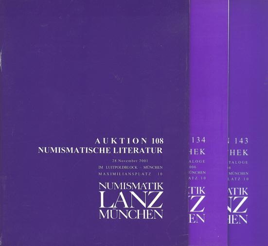 Ancient Coins - Numismatik Lanz Auktion Set of 3 - Numismatische Literatur 108 and Numismaatische Bibliothek 134 & 143 - Lanz Auction Catalogue - Ancient Greek, Roman and Byzantine Coins
