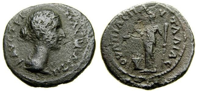 Ancient Coins - THRACE, Pautalia, Faustina Junior, Augusta, A.D. 147-175, Æ 22 mm (5.52 gm., 1h) aVF Hera