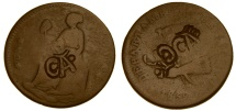 """World Coins - Mexico 1859 1/8 Real, VG, Rare Jalscio Countermarked """"CA"""" on Both Sides, EF"""