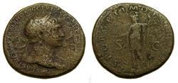 Ancient Coins -  Trajan, AD 98-117, Æ Sestertius (33 mm, 23.19 gm., 6h), Rome mint, Struck circa AD 106-107 Fine+
