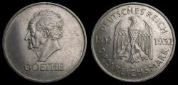 World Coins - Germany 1932D 3 Mark Goethe Mintage Only 56,000 KM#76 Good/VF+