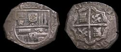 World Coins - Spain Philip IV 1621-65 Silver Cob 8 Reales (25.28 gms) Seville Mint Well Centered Coin With Full Shield Good VF 6365