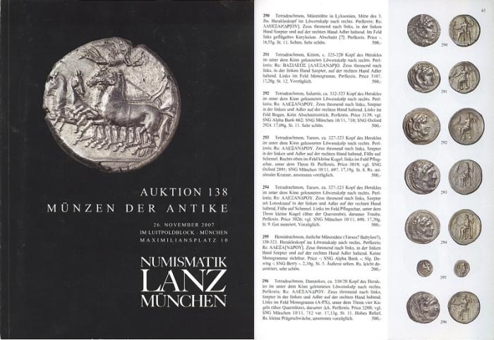 Ancient Coins - Numismatik Lanz Auktion 138 - November 26, 2007 - Munzen der Antike - Lanz 138 Auction Catalogue - Ancient Greek, Roman and Byzantine Coins