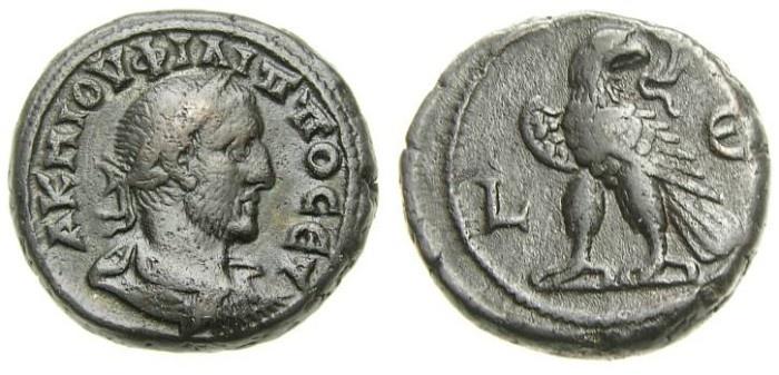 Ancient Coins - EGYPT, Alexandria, Philip I. A.D. 244-249, BI Tetradrachm (22 mm, 12.28 gm., 12h), Dated RY 5 (A.D. 247/8) Good VF