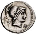 Ancient Coins -  L. Rustius silver denarius (3,85 grs. 20 mm.) minted in Rome in 76 B.C. L. RVSTI. Ram. Very scarce.