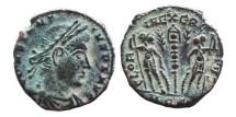 Ancient Coins - Constantius II half follis. 347-355 AD. Aquileia, Two palms, AQS.