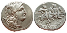 Ancient Coins - Roman Republic LPLH ligate series. Silver denarius minted in Rome circa 189-180 B.C. Good very fine condition, near extremely fine. Silver lightly toned.