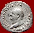 Ancient Coins - Roman Empire - Vespasian (69-79 A.D.) silver denarius (3,08 grs. 19 mm.). Rome mint, 77-78 A.D. COS VIII. Mars holding trophy and sceptre. Busto to left!
