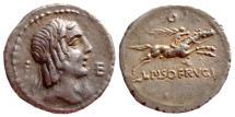 Ancient Coins - L. Calpurnius Piso Frugi AR denarius, 90 BC. O. VF.