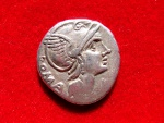 Ancient Coins - Roman Republic - L. Flaminius Chilo silver denarius (3,93 grs. 18 mm.) minted in Rome, 109 B.C. Victory in galloping biga.