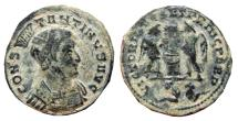 Ancient Coins - Constantine I helmeted Æ Follis. Lugdunum. 318. Two captives in exergue. Scarce.