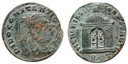 Ancient Coins - Constantius I Chlorus Caesar, 307. Ticinum PT. MEMORIA DIVI CONSTANTI. Temple. Very rare!!