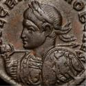 Ancient Coins - Crispus. An attractive issue with a wonderful bust type. Shield full decorated with Sol standing, being crowned by Victoria, behind soldier with shield.